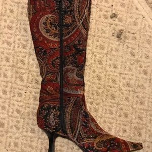 Paisley fabric boots